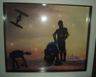 Star Wars Themed White Box Frame with Led Lights.