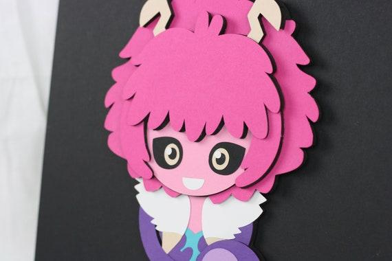 Mina Ashido Paper Art My Hero Academia Decor Boku No Hero Acadmia