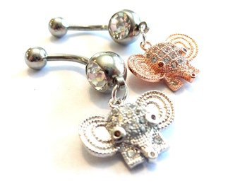 Elephant Belly Ring, Rhinestone Belly Button Ring, Elephant Body Jewelry, Rhinestone Body Jewelry, Dainty Navel Ring, Silver Navel Ring