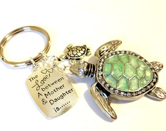 Mother Daughter Gift, Mother Daughter Green Keychain, Sea Turtle Charm Keychain, Tortoise Shell Keychain, Beach Keychain, Beach Key Fob