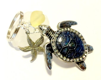 Sea Turtle Keychain, Sea Turtle Car Accessories, Blue and Yellow Key Chain, Seaglass Keychain, Wire Wrapped Beach Keychain, Turtle Gifts