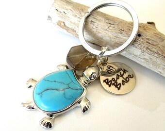 Sea Turtle Keychain, Turtle Car Accessories, Turquoise Keychain, Smoky Quartz Crystal Keychain, Message Keychain, Beach Babe Charm Keychain