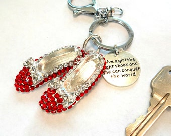 Ruby Slippers Keychain - Red Shoes Charm Key Ring - Wizard of Oz Inspired Key Chain - Conquer the World Gifts for Her