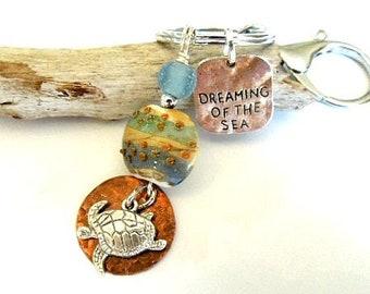 Beach Keychain, Sea Turtle Car Accessories, Dreaming of the Sea Charm Keychain, Ocean Key Chain, Sea Glass Keychain