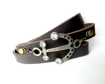 Anchor Bracelet. Nautical Bracelet, Leather Wrap Bracelet, Anchor Jewelry, Nautical Jewelry, Nautical Gifts, Summer Jewelry