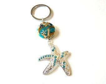 Starfish Keychain, Beach Keychain, Ocean Keychain, Starfish Gifts, Beach Gifts, Mothers Day Gift, Car Accessories