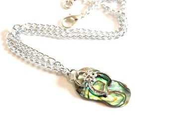 Flip Flops Charm Anklet, Summer Jewelry, Abalone Shell Jewelry, Anklets for Women, Ankle Bracelet