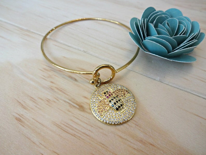 Gold Tone Infinity Bangle Bracelet Save the Bees Bumble Bee Gifts Rhinestone Bumble Bee Charm Bangle Bracelet Bumble Bee Jewelry