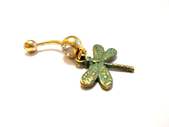 Shiny Rhinestone Dragonfly Belly Button Navel Ring 14 Gauge Piercing Jewelry