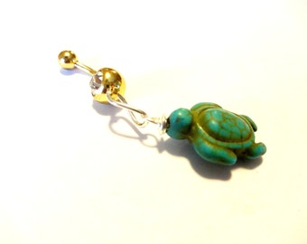 Turtle Belly Button Ring, Sea Turtle Body Jewelry, Turquoise Belly Button Ring, Beach Jewelry, Turquoise Body Jewelry, Turtle Gift