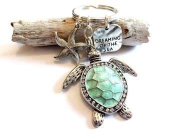 Sea Turtle Keychain, Turtle Jewelry, Dreaming of Sea Stamped Message Charm Keychain, Starfish Keychain, Sea Foam Green Ocean Car Accessory