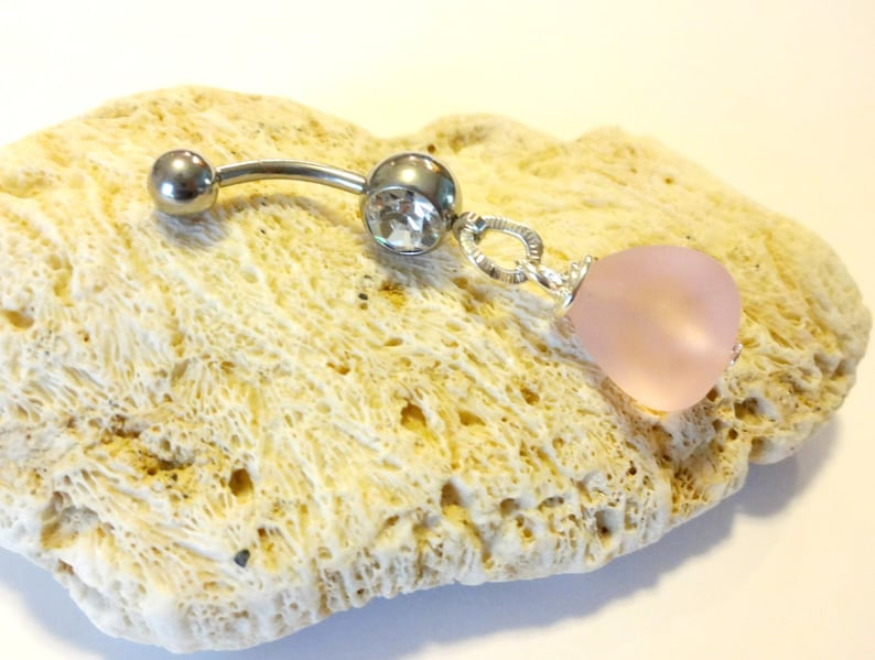 Pink Sea Glass Belly Ring Summer Jewelry Pink Belly Button Ring Body Jewelry Beach Jewelry Ocean Jewelry Navel Ring Sea Glass Jewelry