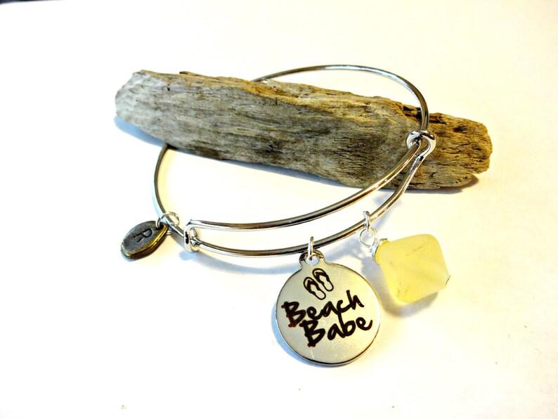Sea Glass Bracelet Silver Initial Bracelet Personalized Bangle Bracelet Ocean Bracelet Yellow Jewelry Beach Babe Charm Bracelet