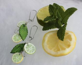 Cocktail Mojito earrings : Lemon, Lime, Mint, Ice cube.