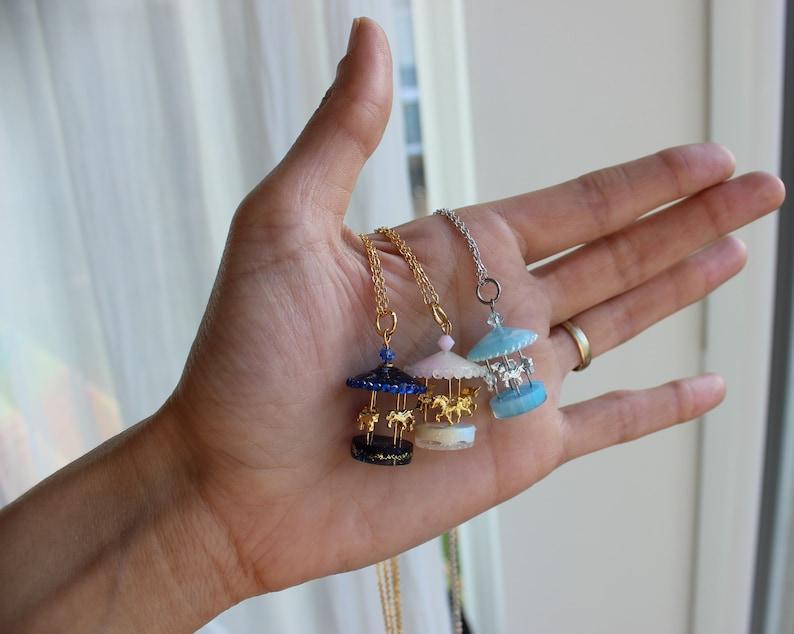 Merry go round pendant necklace cloudy blue sky