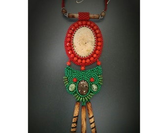 "Bead Embroidered Necklace ""Christmas Feeling"" (Statement Necklace)"