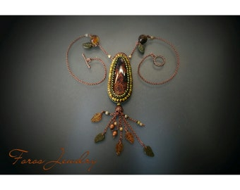 "Bead Embroidered Necklace ""Autumn Colours"" (Statement Necklace)"