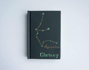 AQUARIUS notebook, Zodiac notebook, Aquarius art, Personalized zodiac notebook, Personalized aquarius gift, Zodiac gift, Zodiac star sign