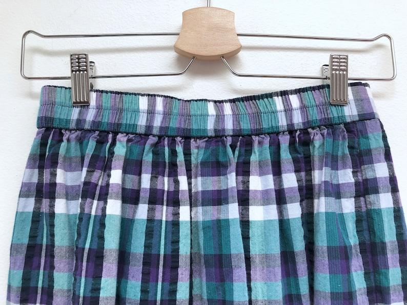 Vintage Blue /& Purple Plaid Cotton Pleated Midi Skirt