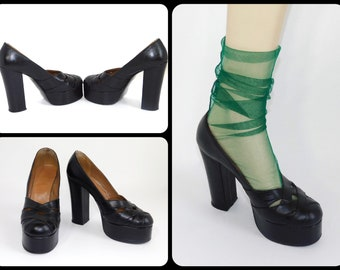 detailed look eec75 0eb42 Uk 6~Gorgeous Rare Genuine 70s Platform Soft Black Leather Shoes-Made in  England-Size UK6   US Women s 8