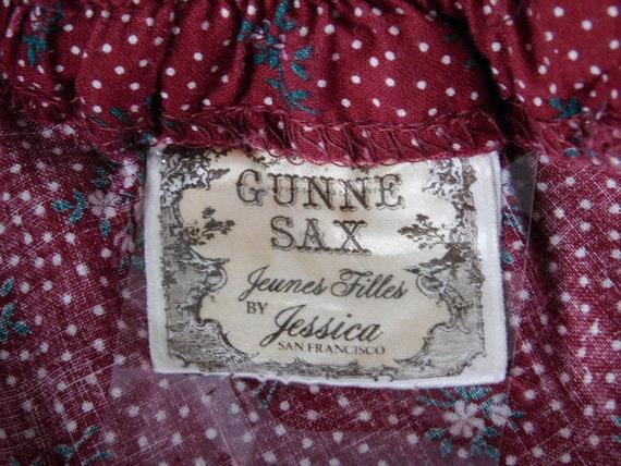 Vintage Gunne Sax Dark Red Calico Floral Velvet G… - image 10