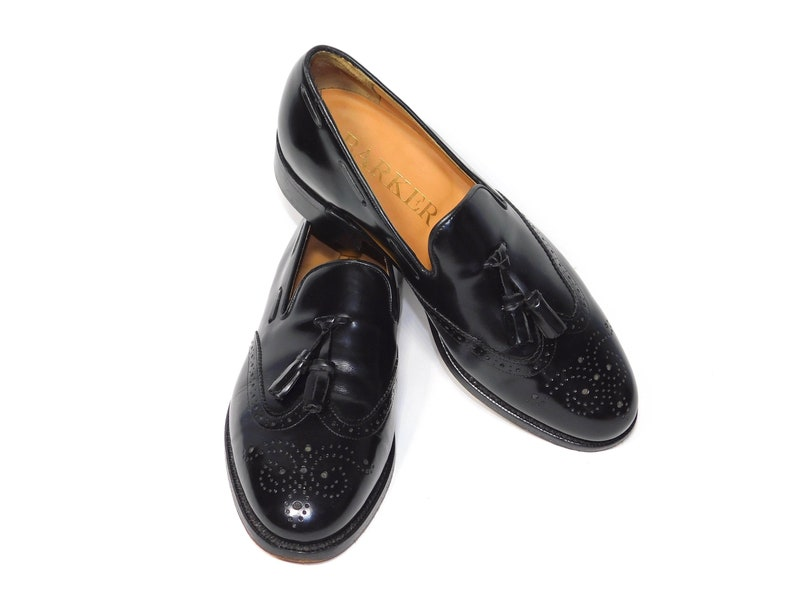 8e527a48dc0c0 Uk6.5FMens~Rare Barker of Earls Barton Black Leather Wingtip Tassel  Loafers-Made in England ~UK6.5F~Men's US Size 7= 9 US womens --