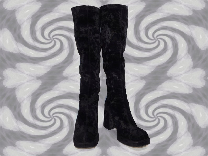 72d68aa43 US 7.5 Size Women's~Rare Crushed Deep Black Velvet Platform Pull On Stretch  Knee High Tall Boots-Bakers-US Women's Size 7.5