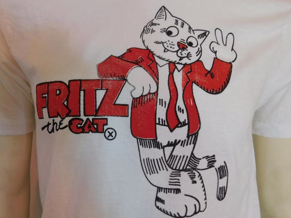 Authentic Iron Below Cartoon Awesome Large~ Hanes Vintage On The Adult Cotton~Size Shirt Fritz Medium Cat Dimensions T 60s See pR1xH