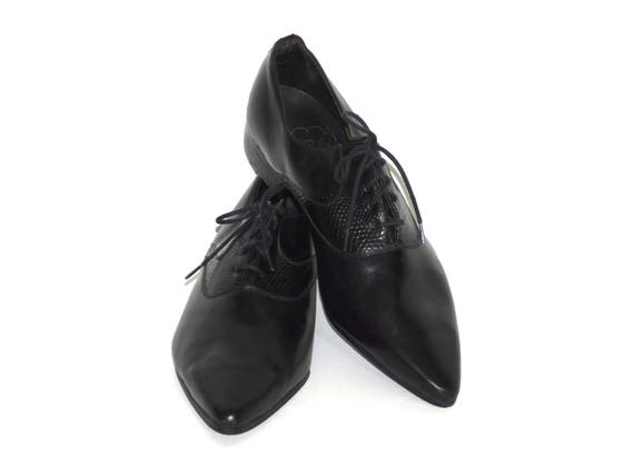 e1cd2f1ed6705 Uk6~US Size Women's 8~Winkle Pickers Black Leather Smooth and Textured  60s/80s or Earlier~ Titled