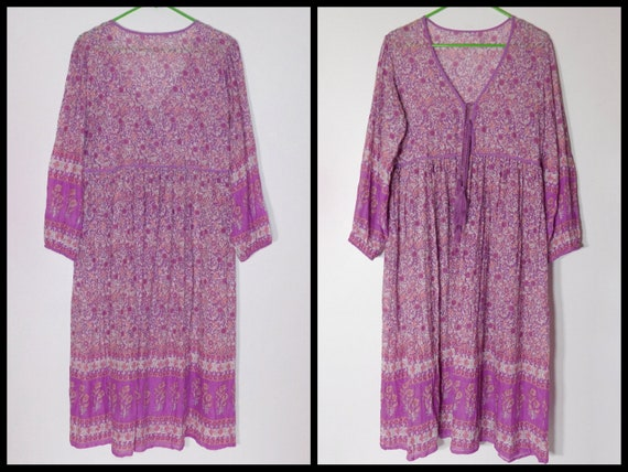Gauze Light Medium~See Hippie Dimensions India~US Print Cotton in Sheer Festival Vintage Women Boho Dress~Made qtSFnF