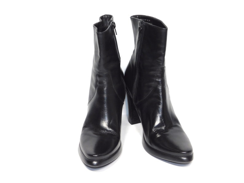 836116e5e24 US Women's 8.5~90s Skechers 'Somethin Else' Platform Zip Up Pointed Toe  Black Leather Boots-Size Marked US Women's 8.5 to 9