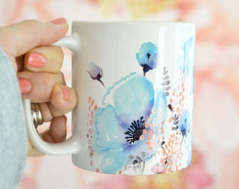 Blue Poppy Coffee Mug, 11oz and 15oz available, Floral Coffee Mug Watercolor Coffee Mug,  Perfect Gift, Flower Tea Mug