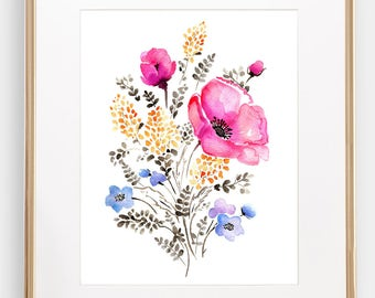 Pink Poppy Floral Watercolor Giclée Print, Watercolour Pink Poppy, Frame NOT included, SenayStudio Archival Artwork, High Quality Prints
