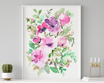 Giclée Watercolor Archival Art Print, Frame NOT included, Abstract Watercolour Rosalie Artwork, High Quality Floral Watercolour Art