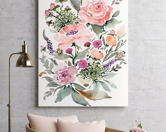 Giclée Canvas READY TO HANG Gallery Style Canvas, Stretched Canvas Print, Archival Canvas Giclée Watercolor Floral Art Print Small and Large