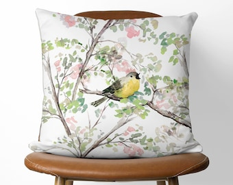 Singing Bird Decorative Pillow | 16x16 or 18x18 Available With or Without Pillow Insert | One Of A Kind Beautiful Eco Friendly Linen Cover