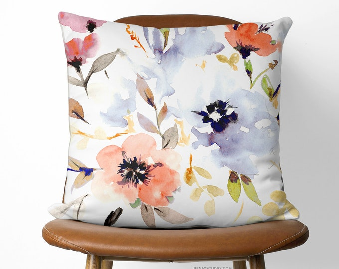 Featured listing image: Gorgeous Watercolour Floral Pillow Cover 16x16 (40cm x 40cm) | Handmade Linen Pillow Cover | Available with or without feather down insert
