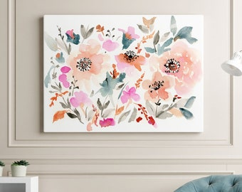 Giclée Canvas READY TO HANG Gallery Style Canvas, Stretched Canvas Print, Archival Canvas Giclée Watercolor Floral Art Print