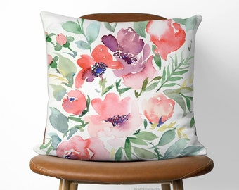 Beautiful Eco Friendly Linen Pillow | Available With or Without Pillow Insert | Rasalie watercolour artwork