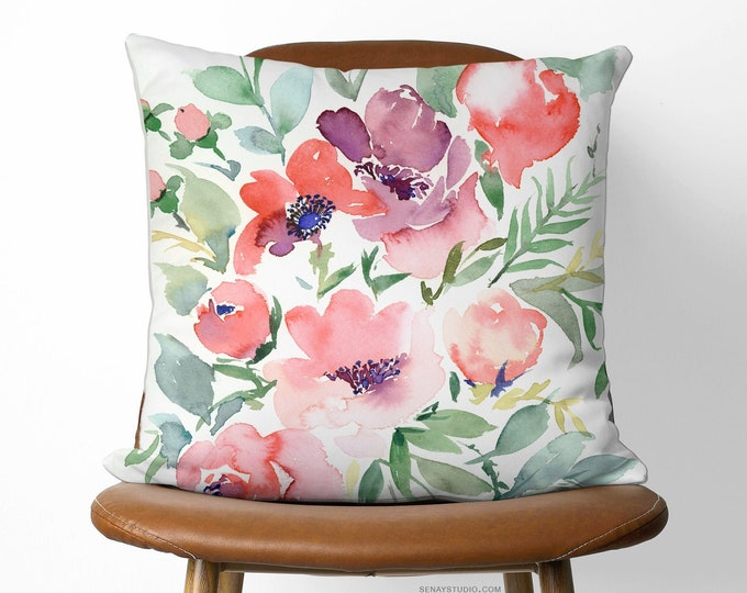 Featured listing image: Beautiful Eco Friendly Linen Pillow | Available With or Without Pillow Insert | Rasalie watercolour artwork