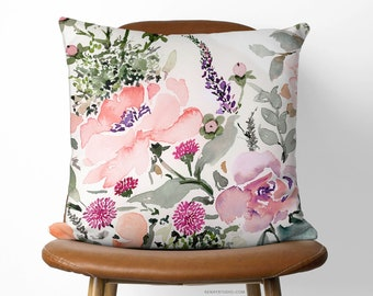 Rose Bouquet 16in x 16in Pillow Available With or Without Pillow Insert | Beautiful Watercolor Floral Pillow Cover (40cm x 40cm)