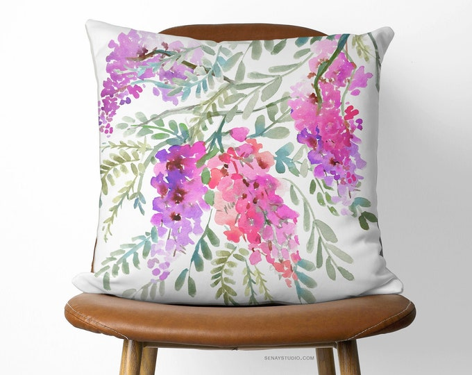 Featured listing image: Wisteria Pillow 16in x 16in (40cm x 40cm) Available With or Without Pillow Insert | Beautiful Watercolour Floral Pillow