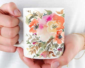 Watercolor Amber Mug, Beautiful Coffee Mug, 11oz and 15oz available, Unique Tea Mug, Ceramic Coffee Mug Tea Mug perfect gift item