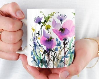 Beautiful Coffee Mug, Watercolor 'Joy' Mug, 11oz and 15oz available, Unique Tea Mug, Ceramic Coffee Mug Tea Mug perfect gift item