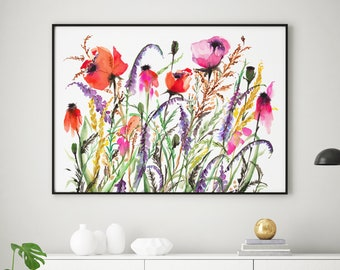 Giclée Watercolor print, Archival Art Print, Frame NOT included, Abstract Water-colour Meadow Flowers Artwork, Quality Watercolour Wall Art