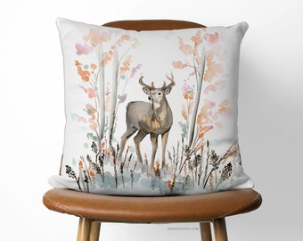 Beautiful Deer Decorative Pillow | Unique Watercolor Design,Beautiful Eco Friendly Pillow Cover With Invisible Zipper