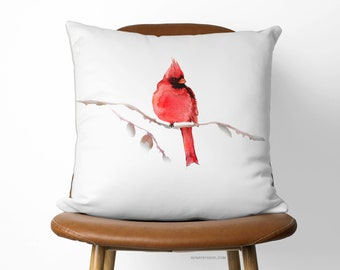 Red Cardinal Bird Pillow | 16x16 Beautiful Decorative Pillow Available With or Without Pillow Insert