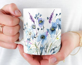 Beautiful Coffee Mug, Watercolor 'Mia' Mug, 11oz and 15oz available, Unique Tea Mug, Ceramic Coffee Mug Tea Mug perfect gift item