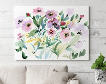 Stretched Canvas READY TO HANG Gallery Style Canvas Print, Stretched Canvas Art, Canvas Giclée SenayStudio Abstract Floral Art Print