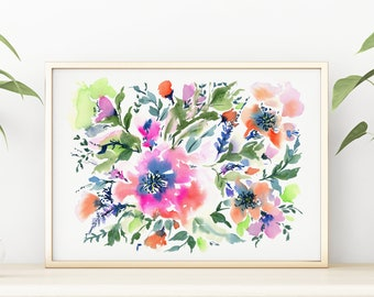 Giclée Watercolor print, Archival Art Print, Frame NOT included, Abstract Water-colour July Artwork, High Quality Watercolour Wall Art